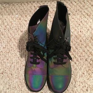 Reflective Rainbow Combat Boots